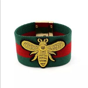 GUCCI style bee bracelet red green gold canvas